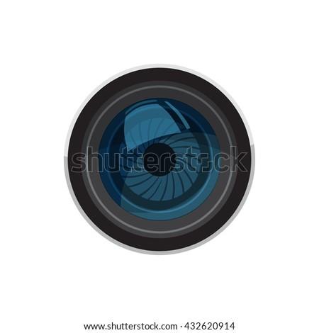 Lens for camera  icon, cartoon style - stock photo