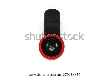 Lens for camera mobile accessories gadget. lens attachment for a smartphone.