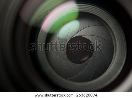 Lens front side exposed aperture blades - stock photo