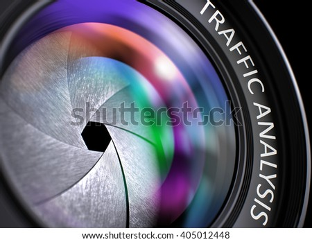 Lens of Digital Camera with Traffic Analysis Concept, Closeup. Lens Flare Effect. Traffic Analysis Written on a Camera Photo Lens. Closeup View, Selective Focus, Lens Flare Effect. 3D.