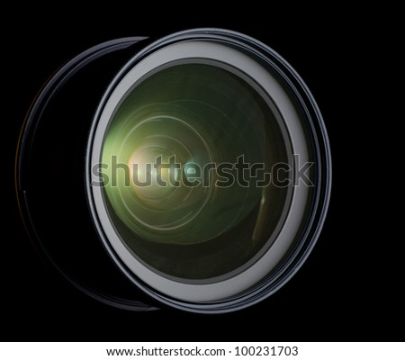 lens of the photo on black background