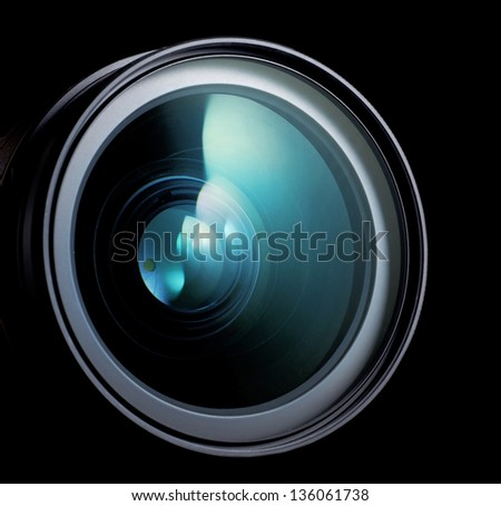 lens of the photo on black background - stock photo