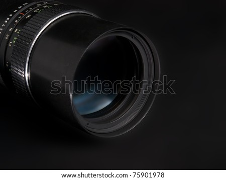 Lens on dark background