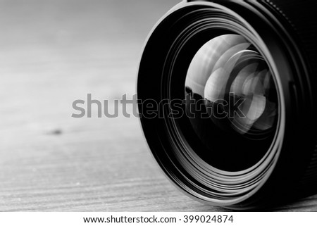 lens reflection black and white photo - stock photo