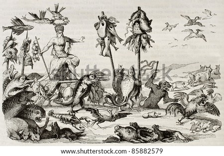 Lent triumph: reproduction of an allegoric composition by Romayn de Hooghe. Published on Magasin Pittoresque, Paris, 1842 - stock photo