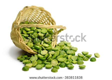 Lentil beans in the basket isolated on white background - stock photo
