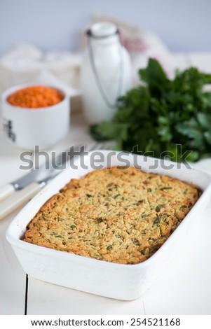 Lentil casserole - stock photo