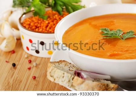 Lentil cream soup - stock photo
