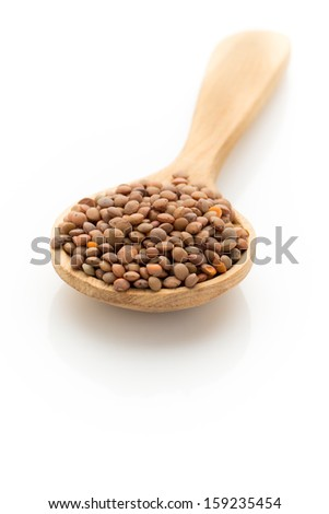 Lentil isolated on the white background. - stock photo