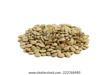Lentil isolated on white background. - stock photo