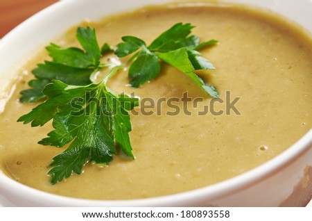 lentil soup and Fresh toasts. - stock photo