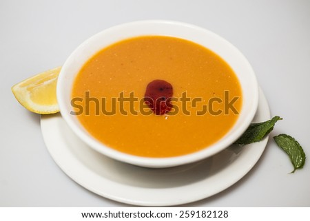Lentil soup in the bowl - stock photo