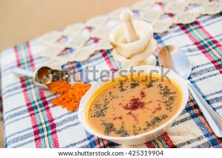 lentil soup serve - stock photo