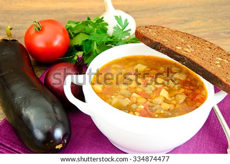 Lentil Soup with Eggplant, Tomatoes and Onions. Studio Photo