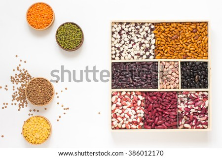 Lentils and beans of various colors. Top view - stock photo