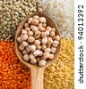 Lentils, Beans, Peas with Wooden Spoon - stock photo