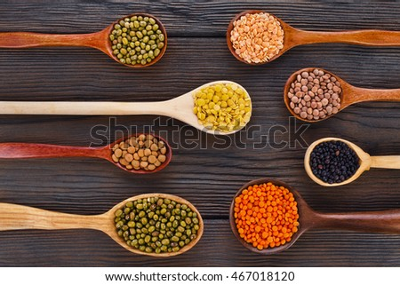 Lentils in the wooden spoons isolated on a wooden background, top view.