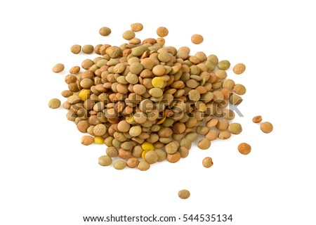 lentils isolated on white