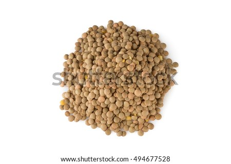 Lentils on a white background