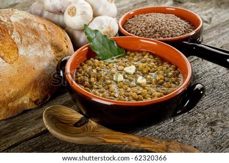 lentils soup - stock photo