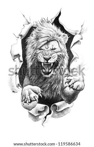 Leo ripped paper. Pencil drawing illustration. - stock photo