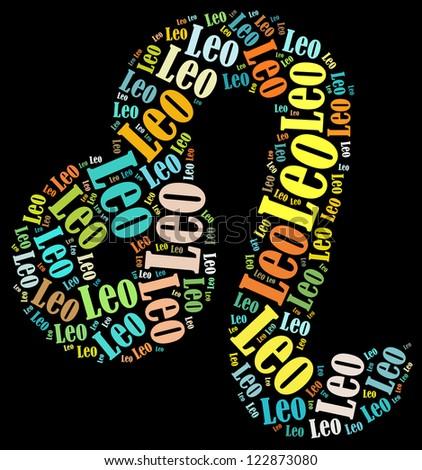 Leo zodiac info-text graphics composed in Leo zodiac sign shape on black background - stock photo