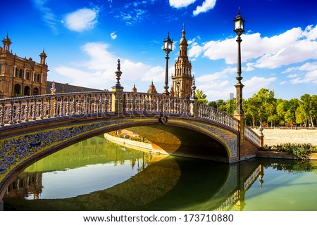 Leon bridge in the Spanish Square (Plaza de Espana), Sevilla, Spain - stock photo