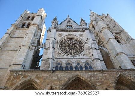 Leon, Castille and Leon / Spain-November 25th 2017: Exterior view of the city of León´s Cathedral. This XIII th century Cathedral is well known for its gothic art and unique stained glass windows.