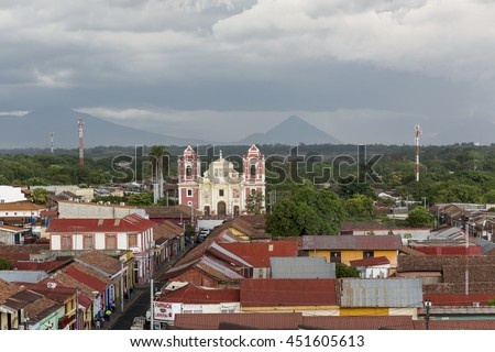 Leon, Nicaragua - June 2016. Aerial view of the colonial city of Leon.