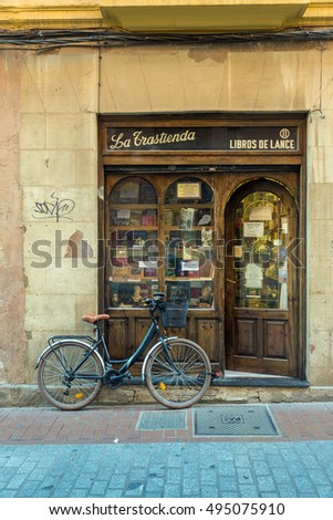 LEON - SPAIN -  October 16, 2016:  small second-hand bookshop in an alley near the cathedral of Leon