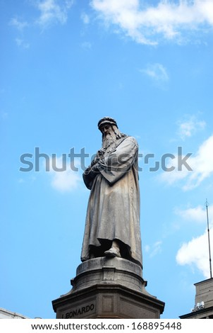 Leonardo Da Vinci monument in Piazza della Scala, in front of Palazzo Marino, Milan's city hall, Italy - stock photo