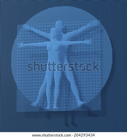 Leonardo Da Vinci Vetruvian Man, Homo Quadratus depicted in a grid of small blue cubes, voxels, digital style, 3d rendering - stock photo