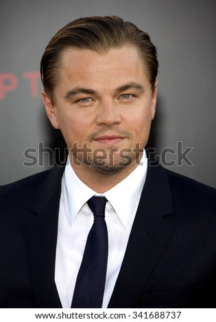 "Leonardo DiCaprio at the Los Angeles Premiere of ""Inception"" held at the Grauman's Chinese Theater in Los Angeles, California, United States on July 13, 2010."