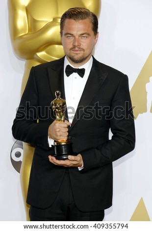 Leonardo DiCaprio at the 88th Annual Academy Awards - Press Room held at the Loews Hotel in Hollywood, USA on February 28, 2016. - stock photo