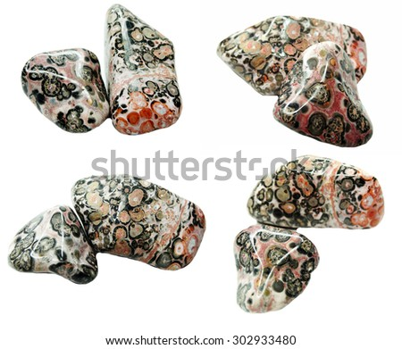 leopard jasper semigem geological crystal isolated - stock photo