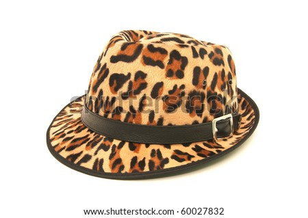 Leopard pattern hat isolated on white background.