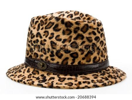 leopard pattern woman's hat - stock photo