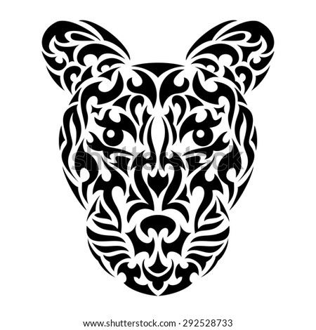 Leopard's head in tribal design for tattoo or print