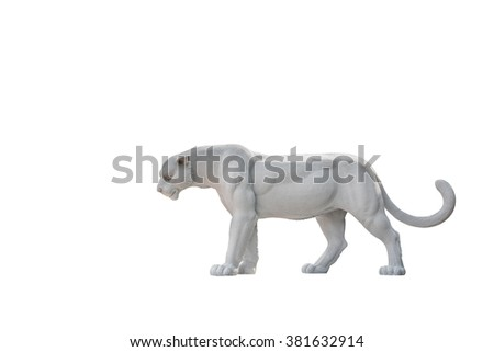Leopard Safari statue isolated on white background. Clipping path