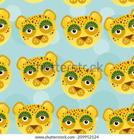 Leopard Seamless pattern with funny cute animal face on a blue background.  - stock photo