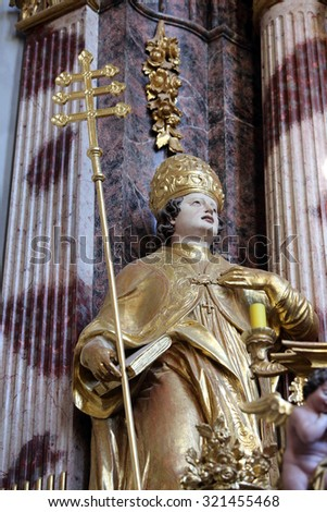 LEPOGLAVA, CROATIA - SEPTEMBER 21: Saint Albert the Great on the main altar of Holy Cross, parish Church of the Immaculate Conception of the Virgin Mary in Lepoglava, Croatia on September 21, 2014 - stock photo