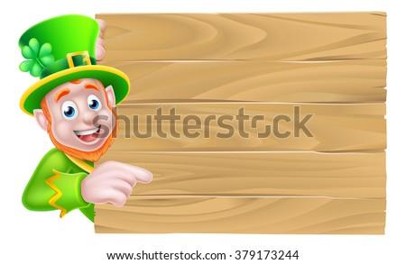 Leprechaun cartoon St Patricks Day character peeking around a wooden sign and pointing - stock photo