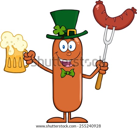 Leprechaun Sausage Cartoon Character Holding A Beer And Weenie. Raster Illustration Isolated On White - stock photo