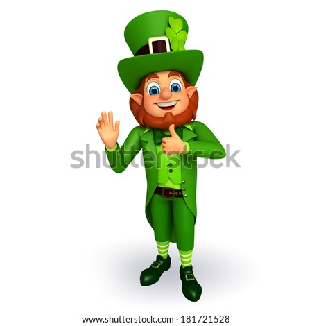 Leprechaun stands with for patricks day
