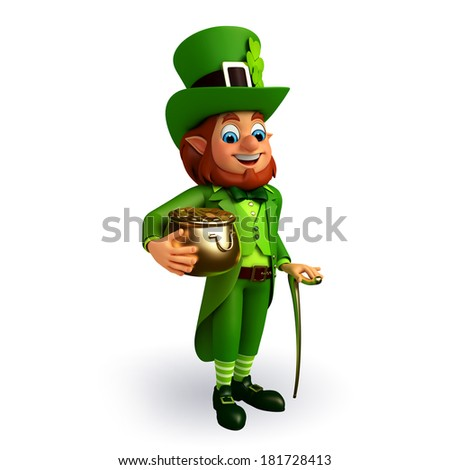 Leprechaun stands with golden pot for patricks day