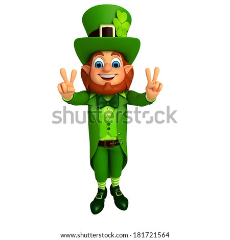 Leprechaun stands with victory signs for patricks day