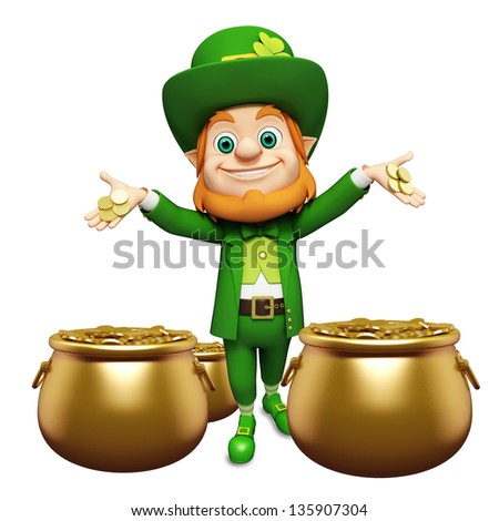 Leprechaun with golden coins in the pot for st patricks day