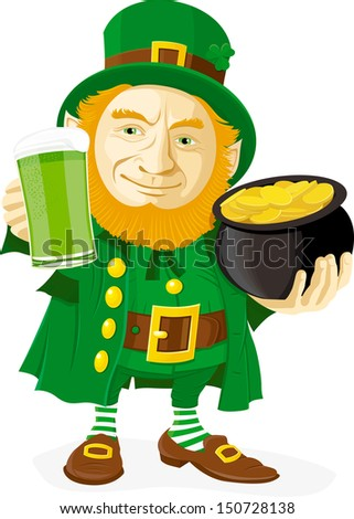 Leprechaun with pot of gold and glass of green beer