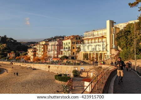 LERICI, ITALY - DECEMBER 25, 2015: Architecture in Lerici, Italy. People walking on the street. - stock photo