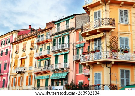 LERICI, ITALY - JANUARY 06, 2015: Multi colored bright houses in Lerici, Italy
